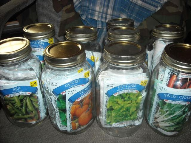 seeds in mason jars